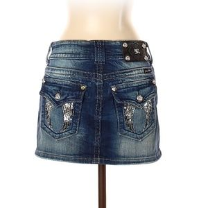 Miss Me Denim Mini Skirt Angel Wings